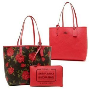 Coach Reversible City Tote Camo Rose